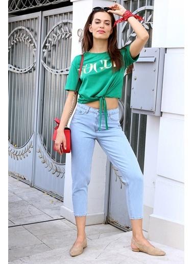 51143e74e91 Freestar Önü Bağlamalı Yazı Baskılı T-Shirt Yeşil ...